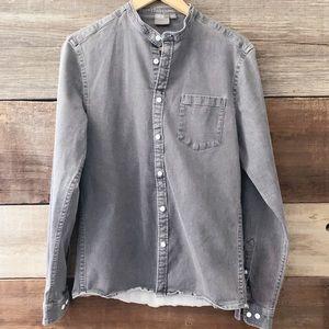 ASOS Gray Chambray Long Sleeve Button-Down Shirt